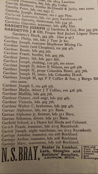 page of text from Calumet Michigan city directory